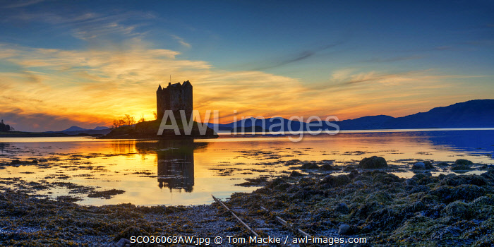 awl-images.com - Scotland / Castle Stalker at Sunset, Argyll & Bute, Scotland