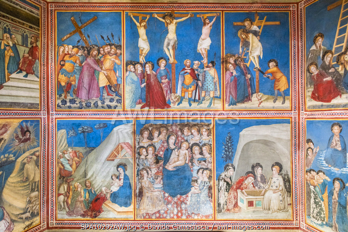 awl-images.com - Spain / Spain, Catalonia, Barcelona, Pedralbes Monastery, Detail of the frescos in St Michael Chapel.