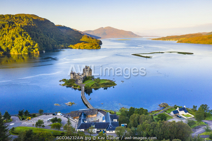 awl-images.com - Scotland / Elevated view of Eilean Donan Castle on Loch Duich, Dornie, Scotland, UK