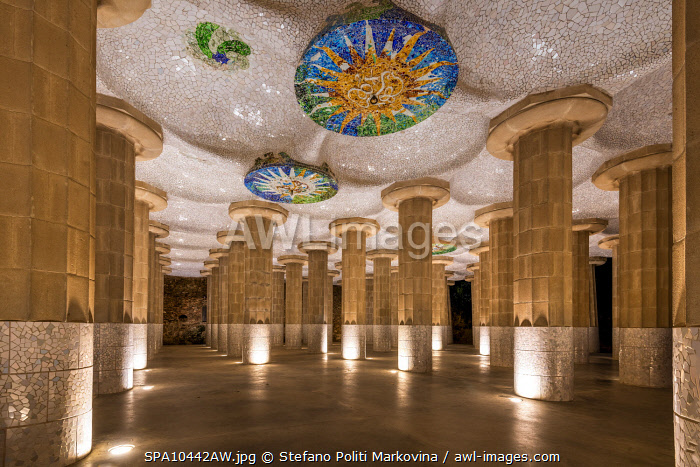 awl-images.com - Spain / Hypostyle Room, Park Guell, Barcelona, Catalonia, Spain