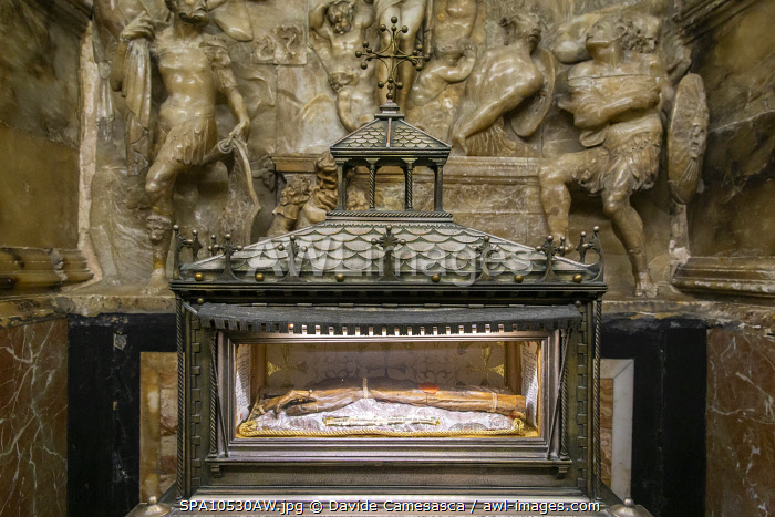 awl-images.com - Spain / Spain, Comunidad Valenciana, Valencia, Embalmed arm of St Vincent in a Chapel of the Cathedral.
