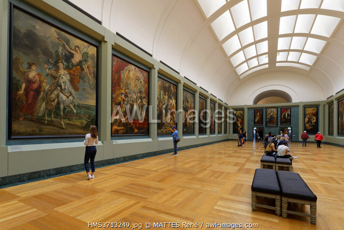awl-images.com - France / France, Paris, Louvre museum, room 801 of Richelieu, Medici gallery, serie of 24 paintings by Rubens between 1622 and 1625 depicting the life of Marie de Medici for Luxembourg palace in Paris