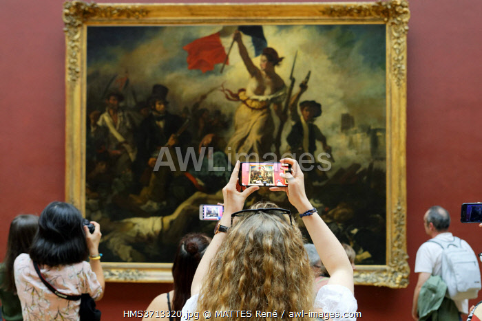 awl-images.com - France / France, Paris, Louvre museum, 19th century French painting gallery, Liberty Leading the People by Delacroix, 1831