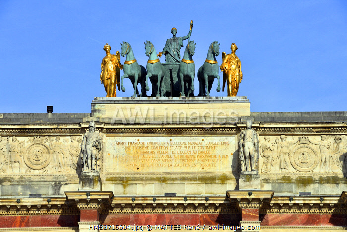 awl-images.com - France / France, Paris, the Tuileries Garden, the arch of Carrousel, Quadriga statue