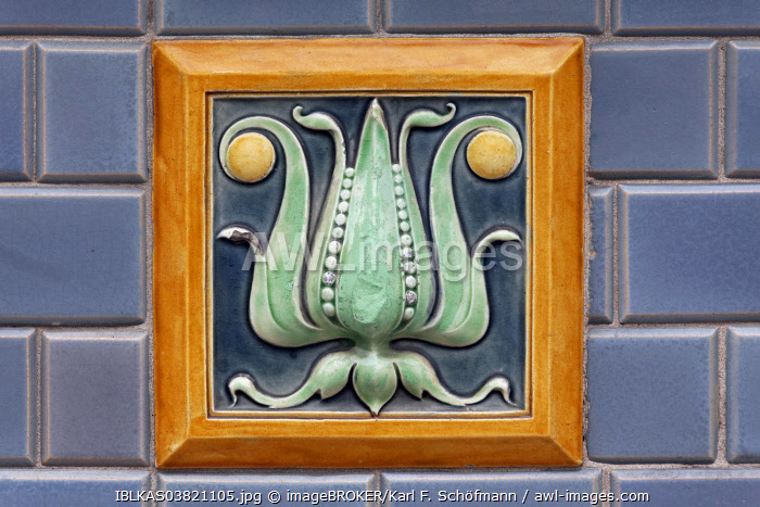awl-images.com - Belgium / Art Deco tile with a floral motif, Blankenberge, West Flanders, Belgium, Europe