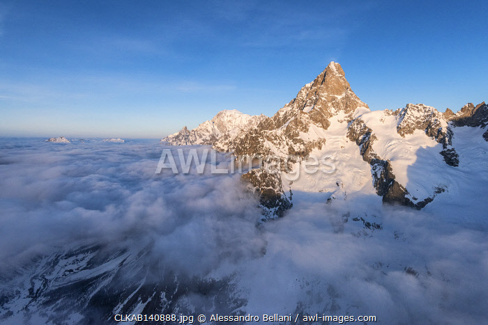 awl-images.com - Italy / Aerial view of Grandes Jorasses of Mont Blanc during sunrise, Courmayeur, Aosta Valley, Italy, Europe