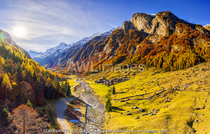 awl-images.com - Italy / Aerial view of Bodengo valley in autumn. Valchiavenna, Valtellina, Lombardy, Italy, Europe.