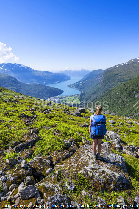 awl-images.com - Norway / Hiker on the trail to Sk�la mountain, Innvikfjorden fjord, Jostedalsbreen National Park, Stryn, Vestland, Norway, Europe