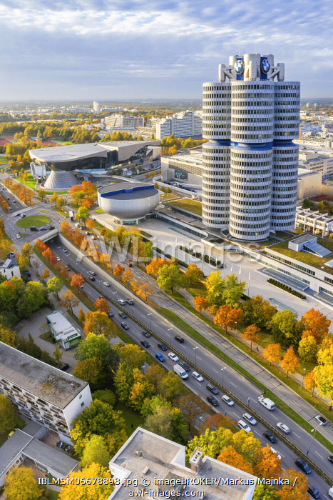 awl-images.com - Germany / Munich BMW World headquarters skyline aerial view city architecture travel skyscraper portrait, Munich, Germany, Europe