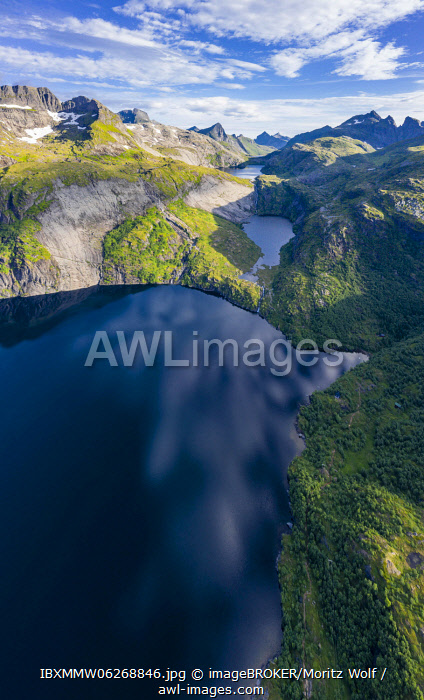 awl-images.com - Norway / Aerial view, mountain landscape, lakes and mountains, Moskenes, Moskenes�y, Lofoten, Nordland, Norway, Europe