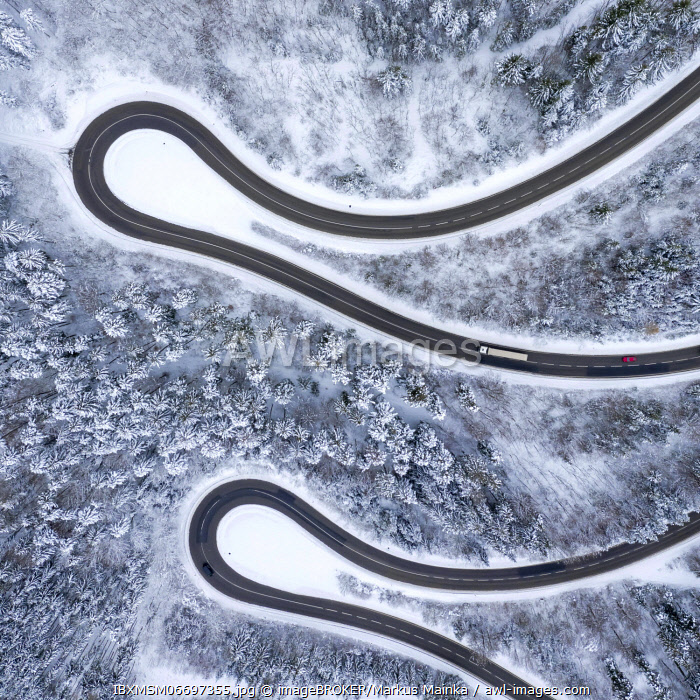 awl-images.com - Germany / Winter snow road serpentine curves Lochenpass forest aerial photo way square curve, Germany, Europe